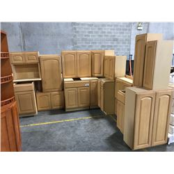"19 PIECE ""MAPLE"" KITCHEN CABINET SET INC. 7 BOTTOM CABINETS, 10 TOP CABINETS, 2 MICROWAVE"