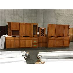 27 PIECE  CHERRY 6004  KITCHEN CABINET SET INC. 10 BOTTOM CABINETS, 11 TOP CABINETS, 2 MICROWAVE