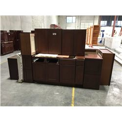 17 PIECE  CHERRY S  KITCHEN CABINET INC. 4 BOTTOM CABINETS, 13 TOP CABINETS, (DISPLAY UNIT)