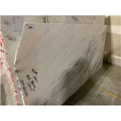 APPROX. 9' X 4.5' WHITE AND GREY MARBLE COUNTER TOP SLAB
