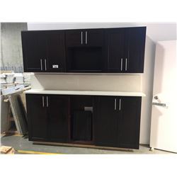 ESPRESSO CABINET SET WITH COUNTERTOP, DISPLAY UNIT, BUYER MUST DISASSEMBLE
