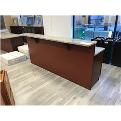"8' X 3' GRANITE TOP ""CHERRY S"" 9 DRAWER RECEPTION DESK WITH 2 OFFICE CHAIRS"