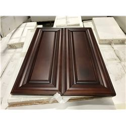 11 PIECE  CHERRY  KITCHEN CABINET SET INC. 5 BOTTOM CABINETS, 6 TOP CABINETS, 2 DOOR PANTRY UNIT