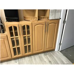5 PIECE  MAPLE  CABINET SET INC. 3 BOTTOM CABINETS, 2 TOP CABINETS