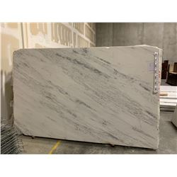 APPROX. 9.5' X 6.5' WHITE AND GREY MARBLE COUNTER TOP SLAB, (MUST TAKE TOP SLAB ON STACK WHEN