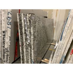 APPROX. 12.5' X 5' WHITE AND JADE MARBLE COUNTER TOP SLAB, (MUST TAKE TOP SLAB ON STACK WHEN