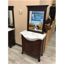 CHERRY 2 DOOR VANITY WITH SINK AND MIRROR, MODEL NP511 (DISPLAY MODEL)