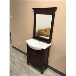 CHERRY 2 DOOR VANITY WITH SINK AND MIRROR, MODEL NP411 (DISPLAY MODEL)