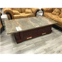 "68"" X 36"" SMOKED SALMON GRANITE TOP TRADITIONAL STYLE COFFEE TABLE"