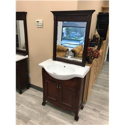 CHERRY 2 DOOR VANITY WITH SINK AND MIRROR, MODEL NP511
