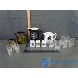 Collection of Shot Glasses and Liquor Jugs