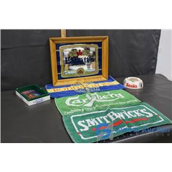 Pilsner Mirror Advertisement, Camel Lights Ashtray, Banks Ashtray & Bar Towels