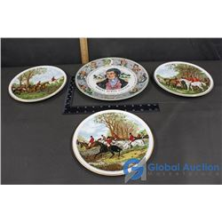 (4) Hunting Herring Scenes Collector Plates, Royal Doulton Robert Burns Plate