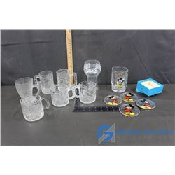 Glass Mugs (Mickey Mouse, Flintstones, Batman Forever, Pepsi-Cola) & Mickey Mouse Coasters