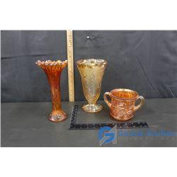 (2) Carnival Glass & Glass Vase