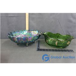 (2) Glass Bowls (1 Carnival Glass)