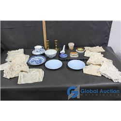 Misc Kitchen (Doilies, Dishes, Candlesticks, Plates)