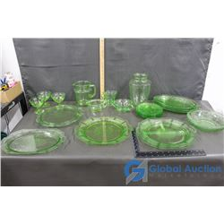 Large Collection of Green Glassware