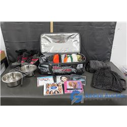 Coors Cooler Bag, Dog Dishes, Kids Boots, CDs