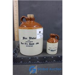 (2) Medalta Miniature Jugs (Fire Water, Medicine Hat, AB)