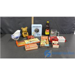 A&W Mug; Gravy Boat; Honey Jar w/Stick;Vintage Kitchen Boxes; etc