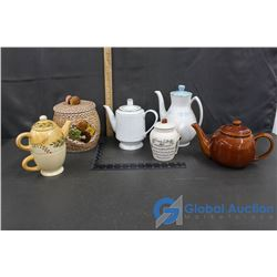 (4) Tea Pots; Coffee Canister & Cookie Jar