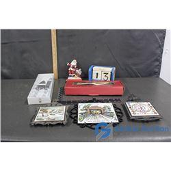 (NIB) 2 Piece Cake Set; (NIB) Christmas Dessert Server; Wooden Calendar; Decorative Tiles in Frames;