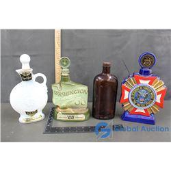 (4) Glass Liquor Bottles