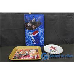 Coca-Cola Tin, Pepsi Sign & Calgary 88 Olympics Plate