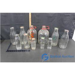 (11) Glass Milk Bottles