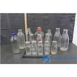 (14) Glass Milk Bottles