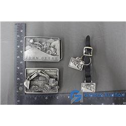 (2) John Deere Belt Buckles, Strap w/Keychains