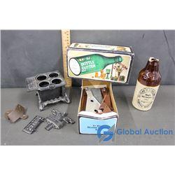Salesman Sample Stove, K-Tel Bottle Opener Kit & Ginger Beer Bottle (Broken)
