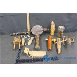 Vintage Misc (Wooden Dowels, Homemade Instrument, Nails)