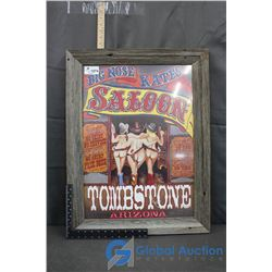 Wooden Framed Tombstone Saloon Poster