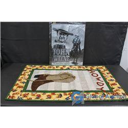 "John Wayne Sign & Hanging ""Howdy"" Tapestry"