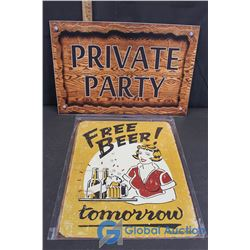 """Private Party & """"Free Beer"""" Signs"""