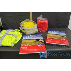 (2) Boxes of 2011 Deluxe Atlases, Safety Vest & Straws