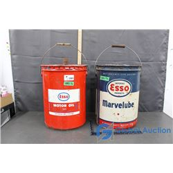 (2) 5 Gallon Esso Motor Oil Tins