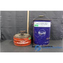 Gulf 5 Gallon Tin & Phil Rite Gasoline Can