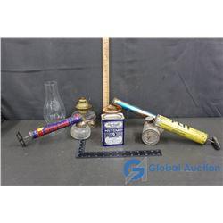 Vintage Sprayers, Oil Lamp & Tin