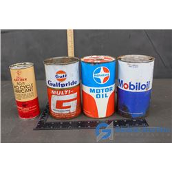 (3) Motor Oil Cans And (1) Archer Two Cycle Lubricant (With Contents)