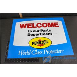 Pennzoil Welcome Sign Plastic