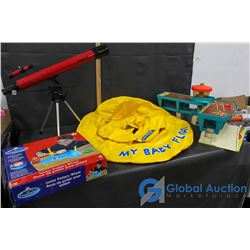 Fisher-Price Airport, Tasco Telescope, Pottery Wheel And Baby Pool Floatie