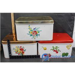 (3) 1950s Tin Bread Boxes