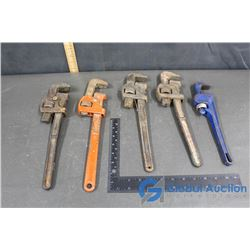 (5) Pipe Wrenchs