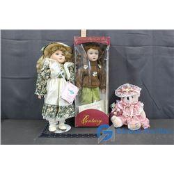 (2) Porcelain Dolls and a Decorative Teddy Bear