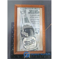 Framed Pepsi-Cola Advertisement