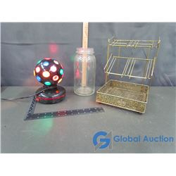 Rotating Disco Light, Glass Jar and Metal Display Case