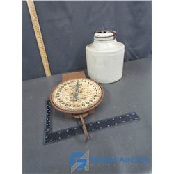 Hanson Dairy Scale and Stoneware With Lid